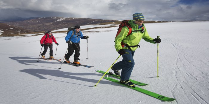 Glenmore Lodge makes the most of remaining snow as Spring arrives. This is the final ski touring course of the season where they ventured onto Geal Charn in the Drumochter Hills with Doug Cooper.Photograph David Cheskin.28.03.2015
