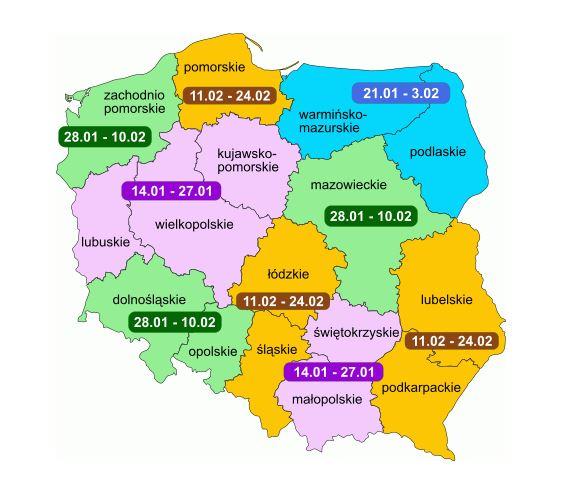 ferie terminy mapa 2019 r.